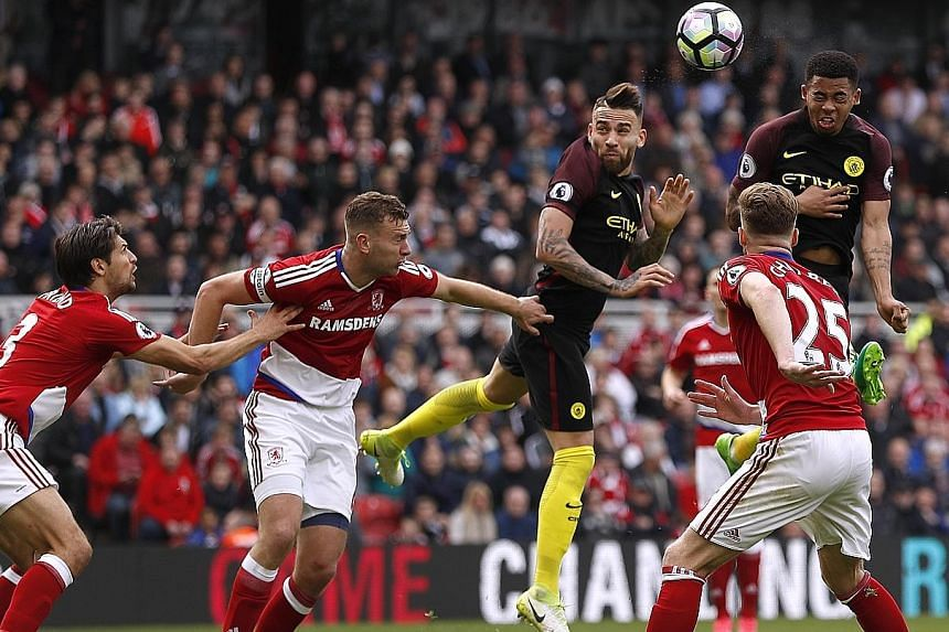 Gabriel Jesus heading home Manchester City's equaliser in their 2-2 draw against Middlesbrough. City may see this as two points dropped rather than one gained after failing to capitalise on their neighbours Manchester United failing to beat Swansea i