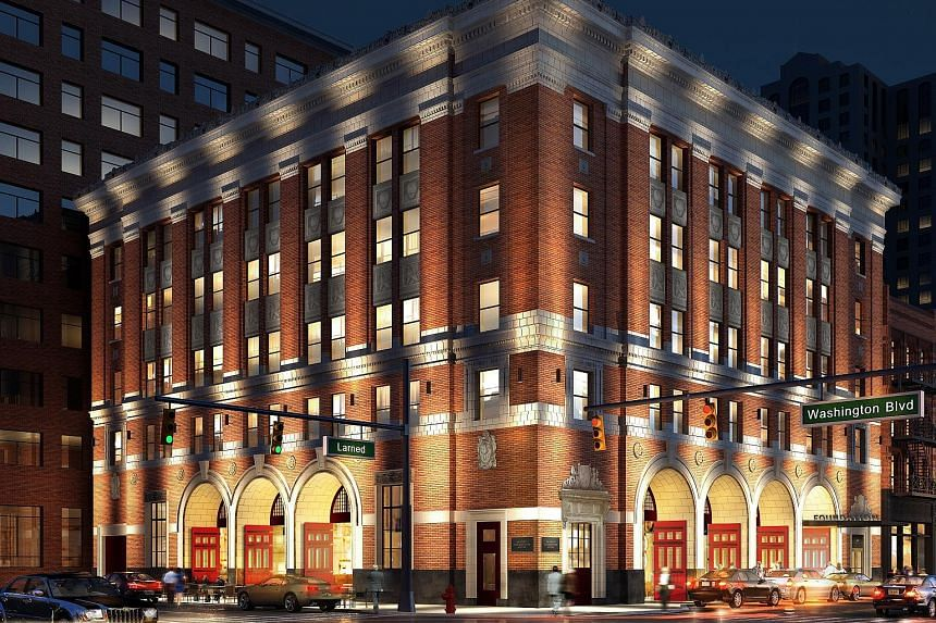 A rendering of the planned exterior of the Detroit Foundation Hotel, which occupies Detroit's former Fire Department headquarters.