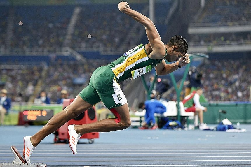 South Africa's Wayde van Niekerk exploding out of the blocks at the Rio Olympics. The reigning 400m Olympic gold medallist has his sights on the winning the 200m and 400m events at the world championships in August.