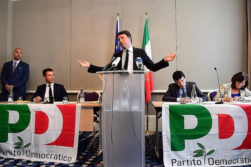 Former Italian prime minister Matteo Renzi campaigning for the Italian Democratic Party leadership in Brussels, Belgium, on Friday. Mr Renzi resigned as prime minister in December last year after Italians overwhelmingly rejected a constitutional refe
