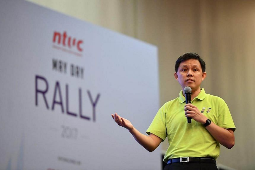 Labour chief Chan Chun Sing speaking at NTUC's May Day Rally.