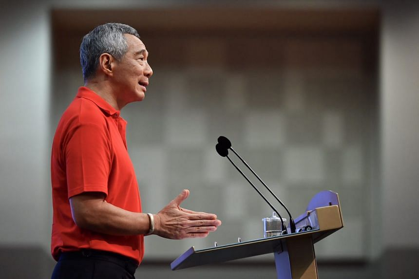 Prime Minister Lee Hsien Loong making his annual May Day Rally speech.