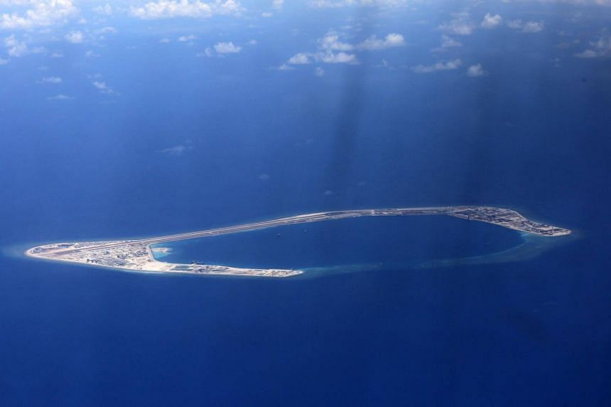 An aerial view of the Subi reef, one of several islands being claimed by China in the disputed South China Sea, on April 21, 2017.