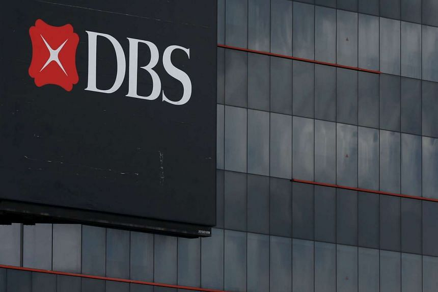 A logo of DBS is pictured outside an office in Singapore.