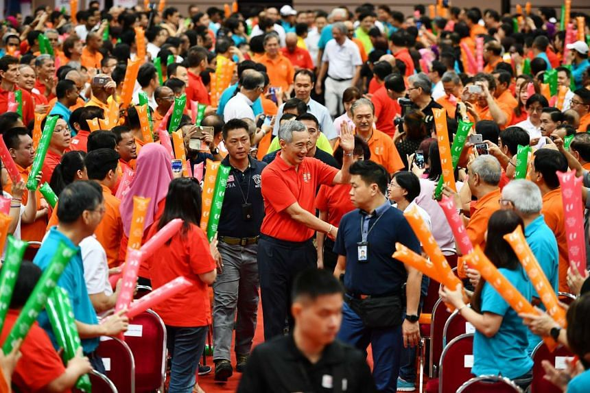Prime Minister Lee Hsien Loong arriving at the Annual May Day Rally at Our Tampines Hub on May 1, 2017.