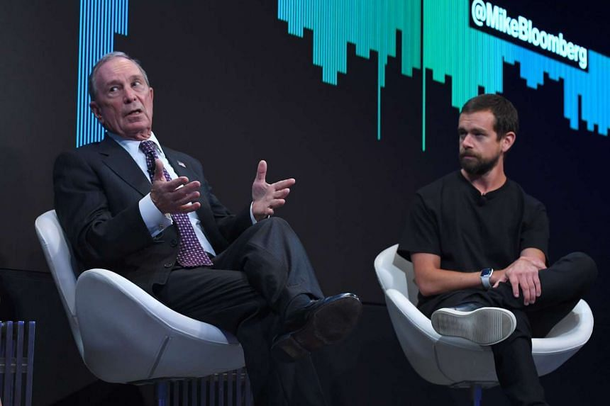 Twitter CEO Jack Dorsey (right) joins Bloomberg Founder Michael Bloomberg to announce a joint venture to launch a 24-hour news network.