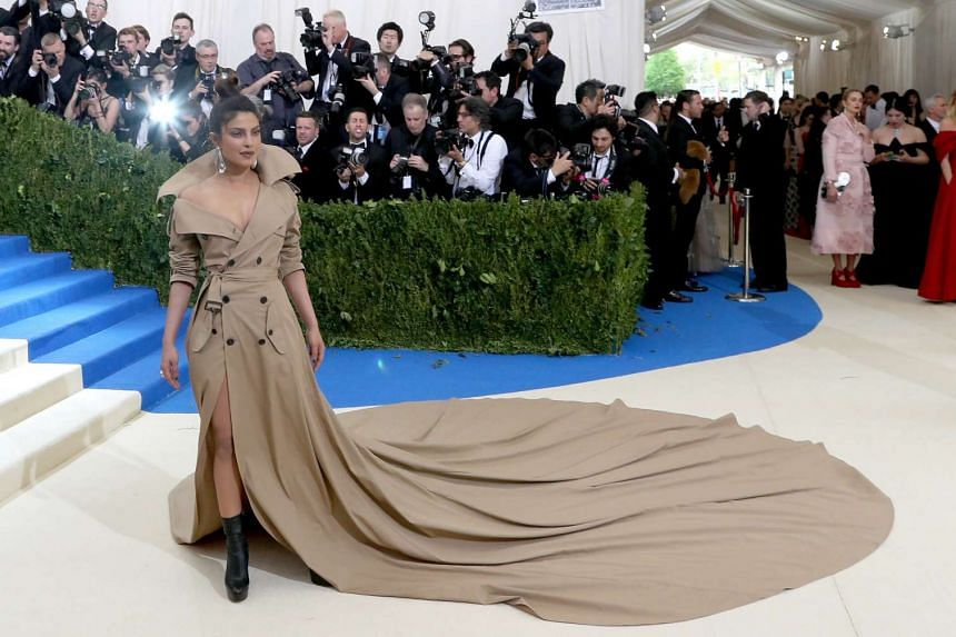 Priyanka Chopra arrives on the red carpet for the Met Gala in New York on May 1.