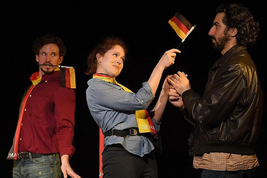 (From left) Brandon Espinoza, Claire Neumann and Joe Joseph in Baghdaddy. The musical tells the true story of an Iraqi defector, whose claims about weapons of mass destruction became justification for the 2003 US-led invasion of Iraq.