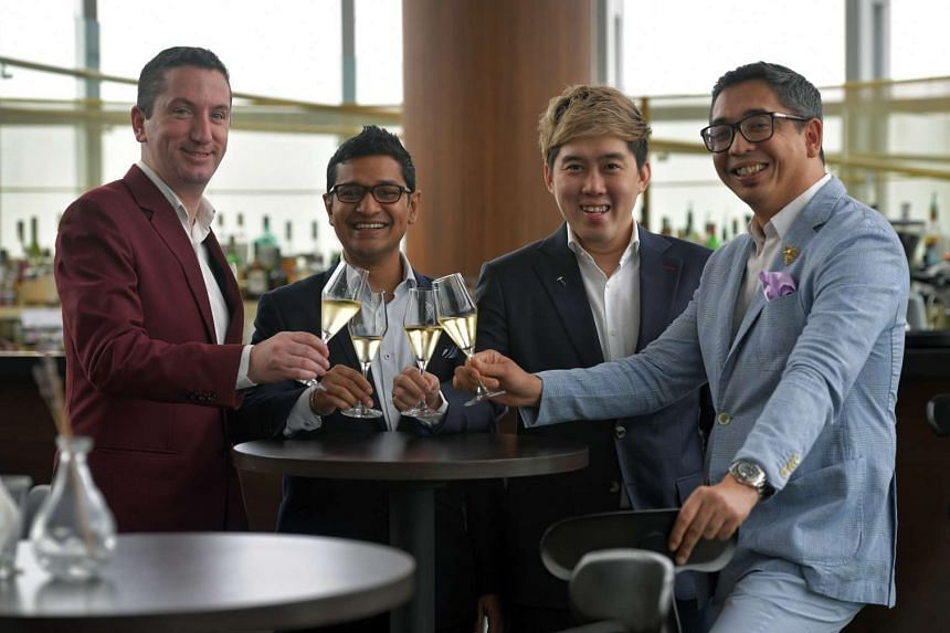 The Flying Sommeliers, (from left) Michael Leitner, Fazil Mohamad, Gerald Lu and Amir Solay.