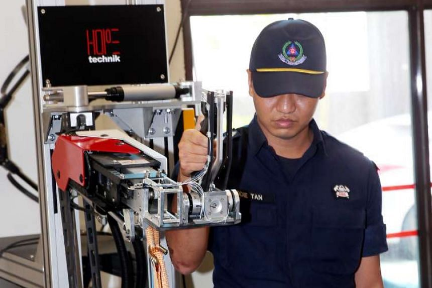An example of how technology is used to combat manpower and security challenges, this exoskeleton is being developed to help SCDF firefighters carry heavy equipment during their firefighting missions.