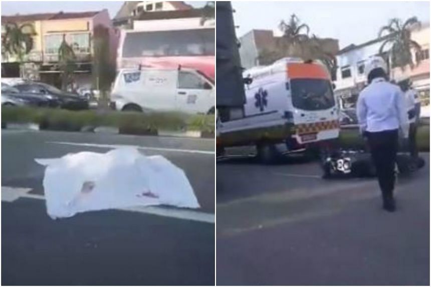 The motorcyclist was believed to have lost control of his vehicle before falling. The tipper truck then ran over him.