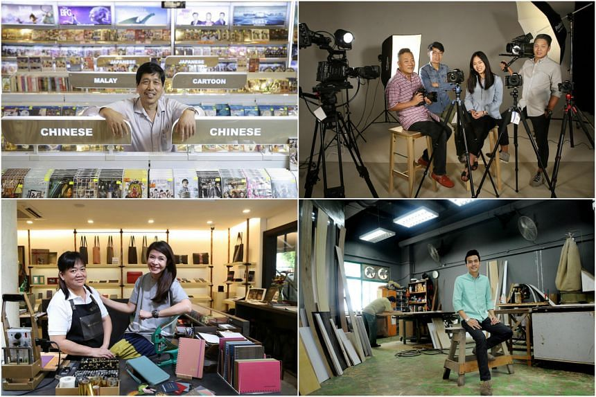 Clockwise from top left: Poh Kim Video, Alan Photo, Roger&Sons and Bynd Artisan are local firms that had to change with the times in order to survive.