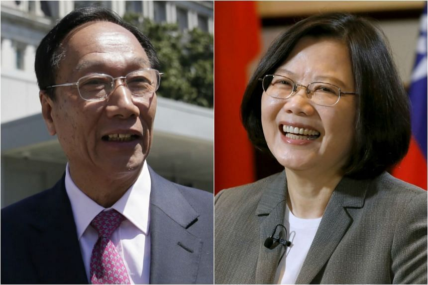 Taiwanese tech mogul Terry Gou (left) and Taiwan President Tsai Ing-wen.