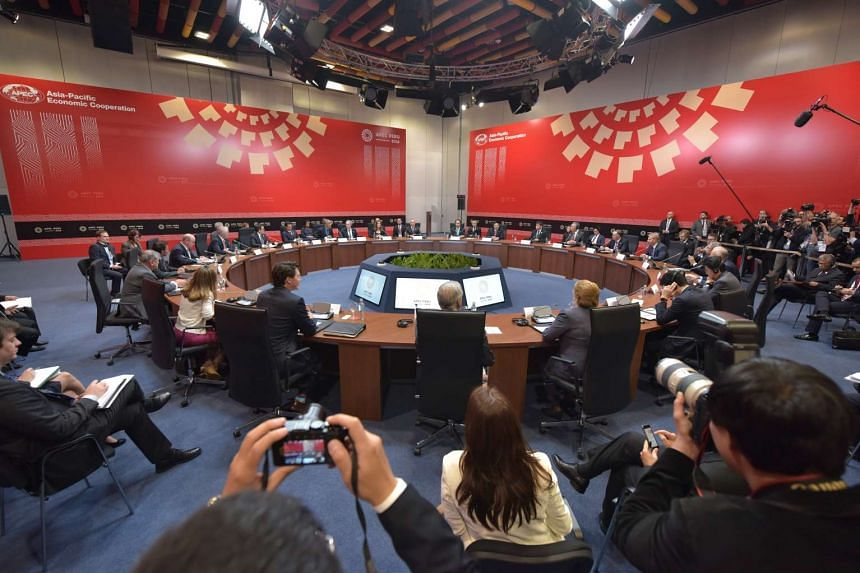 Leaders of the Trans-Pacific Partnership member countries meeting on the sidelines of the Apec Summit in Lima, Peru, on Nov 19, 2016.