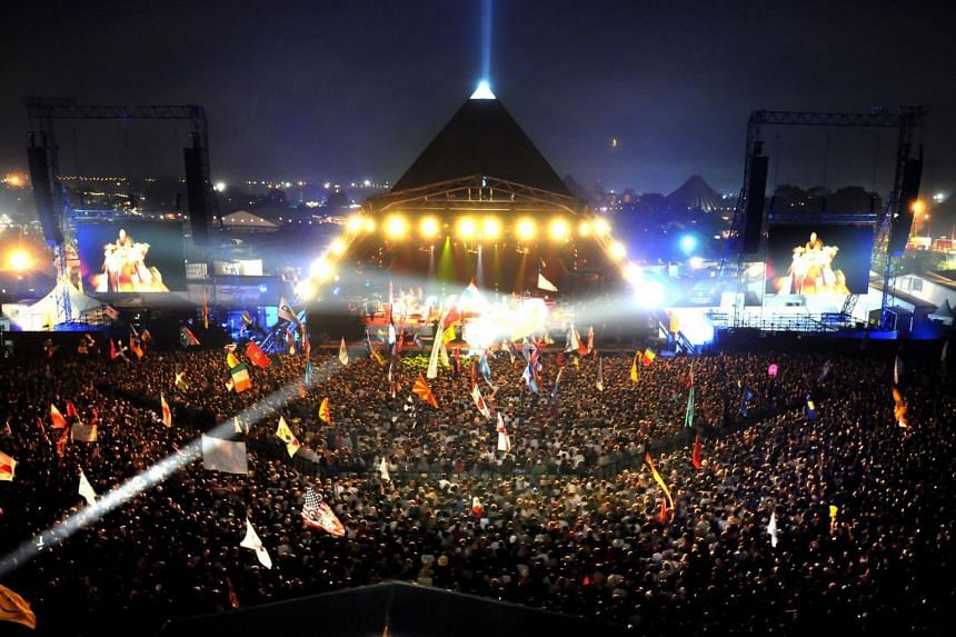 The Glastonbury Festival, an annual five-day festival of contemporary performing arts that takes place near Pilton, Somerset.