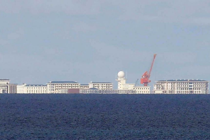 Chinese structures in Subi Reef in the disputed South China Sea.