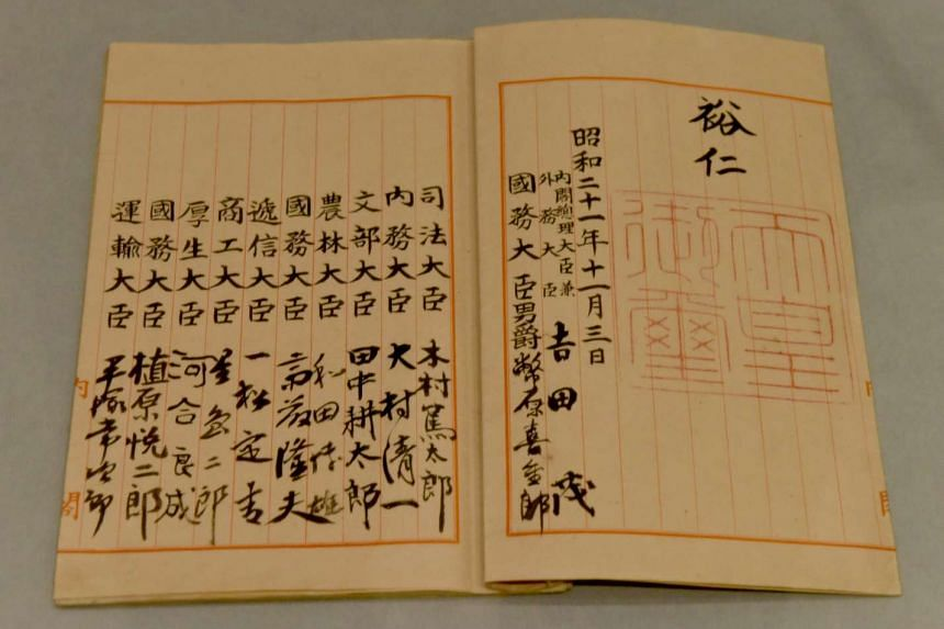 The original Japanese Constitution at the National Archives of Japan in Tokyo.