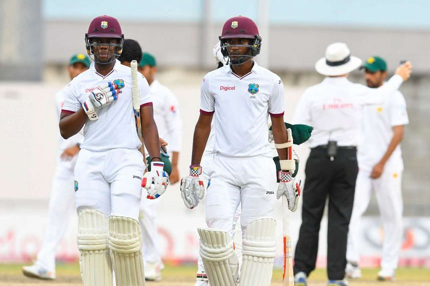 Shimron Hetmyer (left) and Kraigg Brathwaite of West Indies after a match against Pakistan at Kensington Oval, Bridgetown, Barbados.