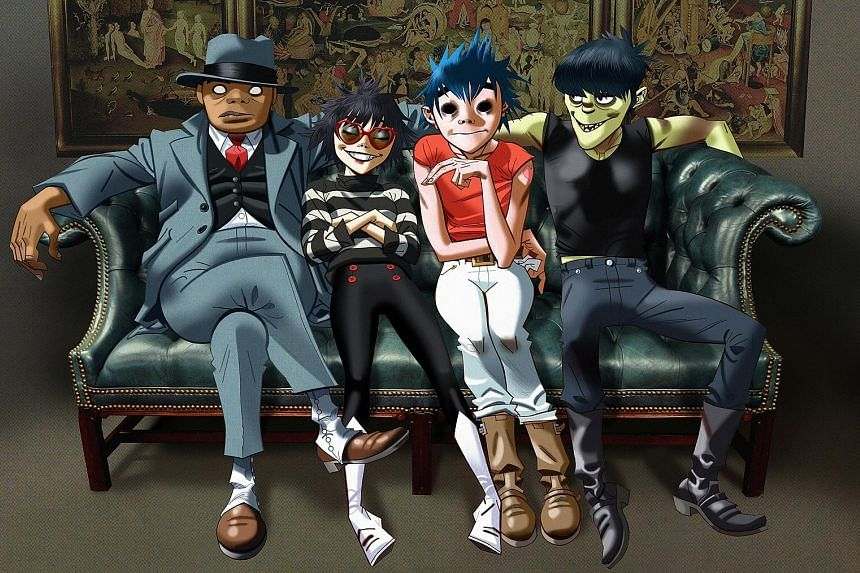 Gorillaz are made up of four cartoon characters: (above from left) Russel Hobbs, Noodle, 2-D and Murdoc Niccals.