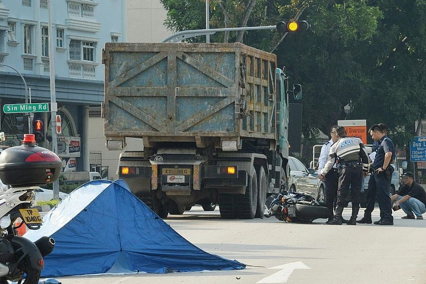 A 27-year-old motorcyclist died in an accident involving a tipper truck in Upper Thomson Road yesterday morning. Police said they were alerted to the accident at the junction of Upper Thomson Road and Jalan Todak at around 7.50am. The motorcyclist wa