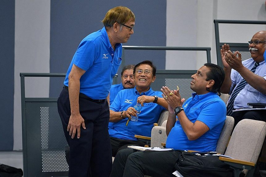 They were united when they won last year's Singapore Athletics election, but Ho Mun Cheong (left) and Govindasamy Balasekaran (second from right) will be on opposing sides in Friday's poll for a new management committee.