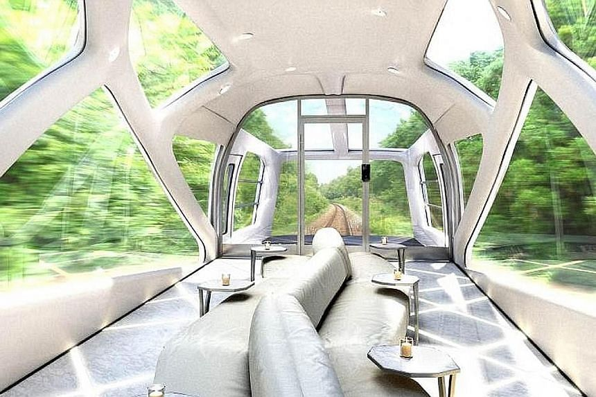 The East Japan Railway Co has launched a new luxury sleeper train, which has glass ceilings and walls built into two observatory coaches for passengers to watch the passing scenery. The train made its maiden voyage on Monday.