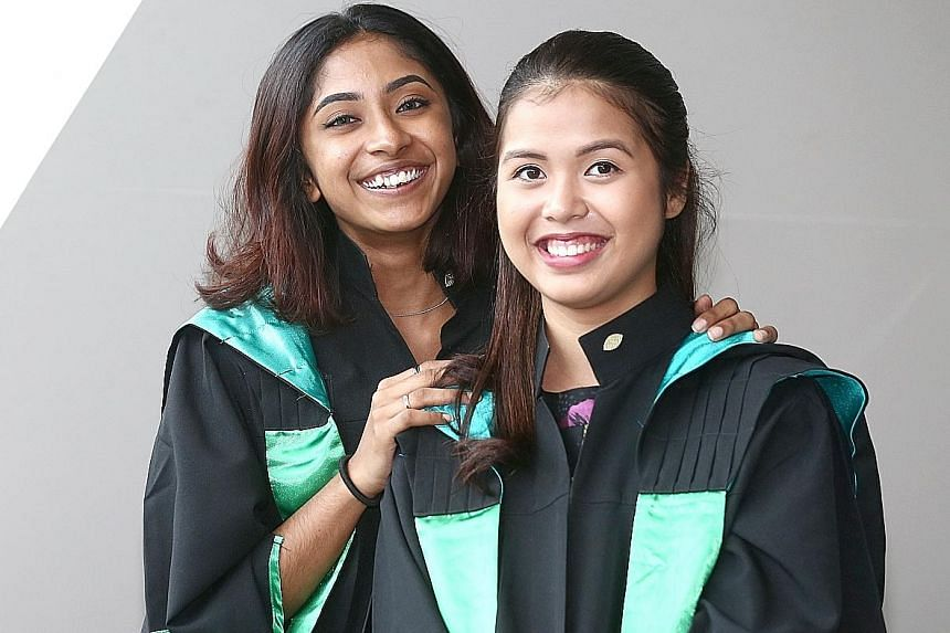 Republic Polytechnic graduates Ashiviny Rajendran (left) and Kristina Manik are both part of the pioneer batch from RP's Diploma in Human Resource Management with Psychology programme.