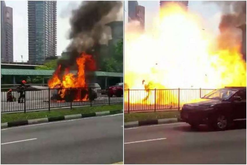 A car exploded in front of Buona Vista MRT station on April 30, 2017.