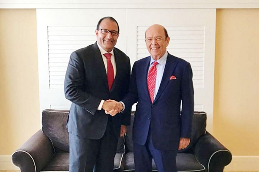 Minister for Trade and Industry (Industry) S. Iswaran and US Commerce Secretary Wilbur Ross met on the sidelines of the Milken Institute Global Conference in Los Angeles on Monday.