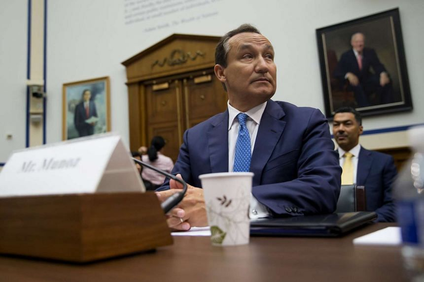 Oscar Munoz, the chief executive of United Airlines, testifies before a House Transportation and Infrastructure Committee hearing, on Capitol Hill.