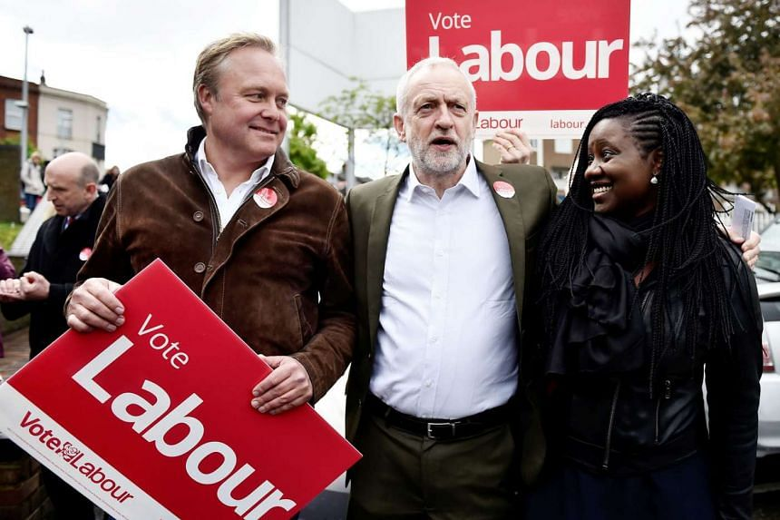 Mr Jeremy Corbyn, leader of the opposition Labour Party, at a campaign event in Clapham Junction, in south London, on Monday. He remains deeply unpopular with the electorate and has almost no chance of gaining power.