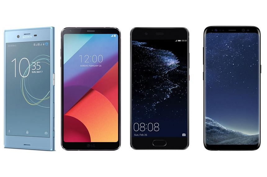 From left: Sony Xperia XZs; LG G6; Huawei P10 and P10 Plus; Samsung Galaxy S8 and S8+