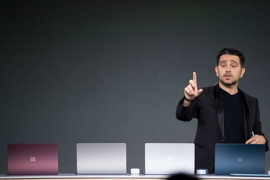 Mr Panos Panay, vice president of Microsoft Surface Computing, speaking about the Microsoft Surface Laptop at a launch event.