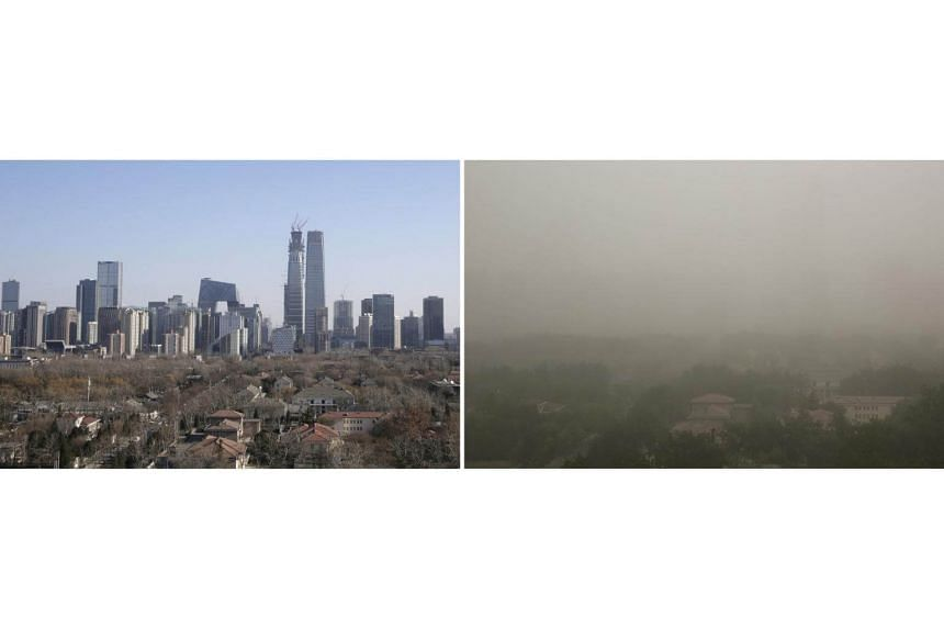 A combination picture shows the skyline of Beijing's central business area on a sunny day (left) on Dec 22, 2016, and during a dust storm (right) on May 4, 2017.