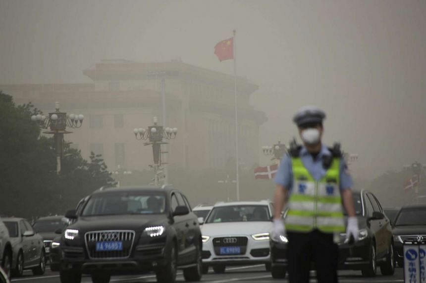 The Great Hall of the People is seen as a dust storm hits Beijing, China on May 4, 2017.
