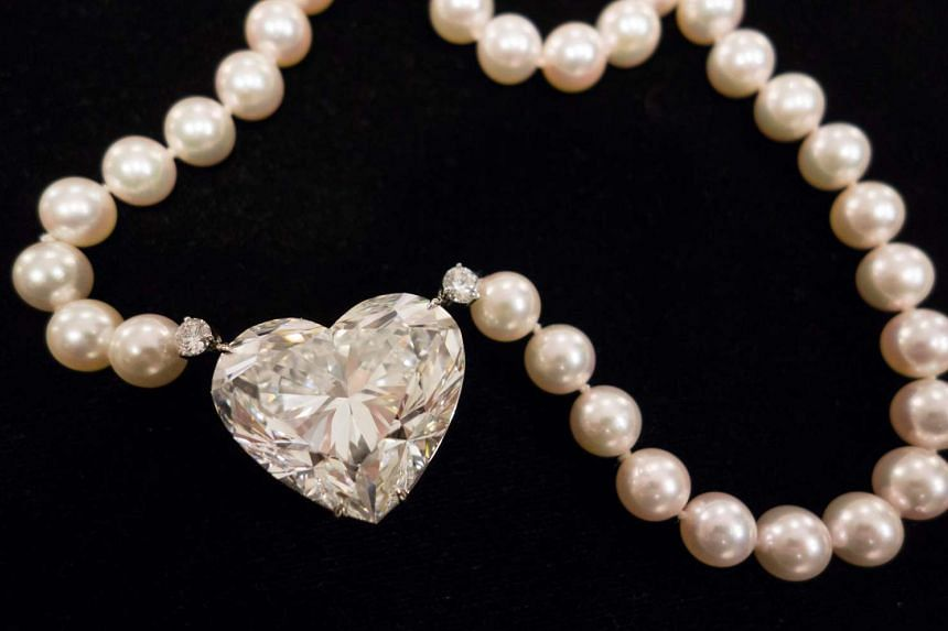 The heart-shaped, 92-carat La Legend diamond is displayed at Christie's in New York on May 3, 2017.