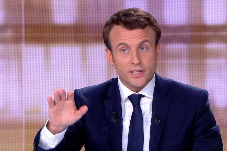Emmanuel Macron talking during a face to face debate ahead of the second round of the French presidential election, on May 3, 2017.