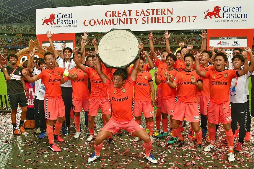 Albirex Niigata celebrating their win at the Great Eastern Community Shield at the National Stadium on Feb 26.