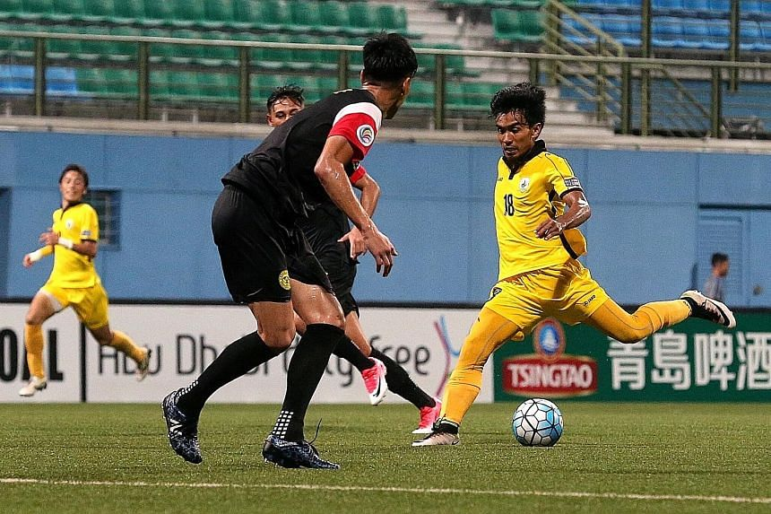 Tampines Rovers midfielder Yasir Hanapi attempts a shot against Ceres Negros in their final AFC Cup Group G match last night at Jalan Besar Stadium. Despite his goals in the 24th and 60th minutes, the hosts, who were reduced to 10 men when Shakir Ham
