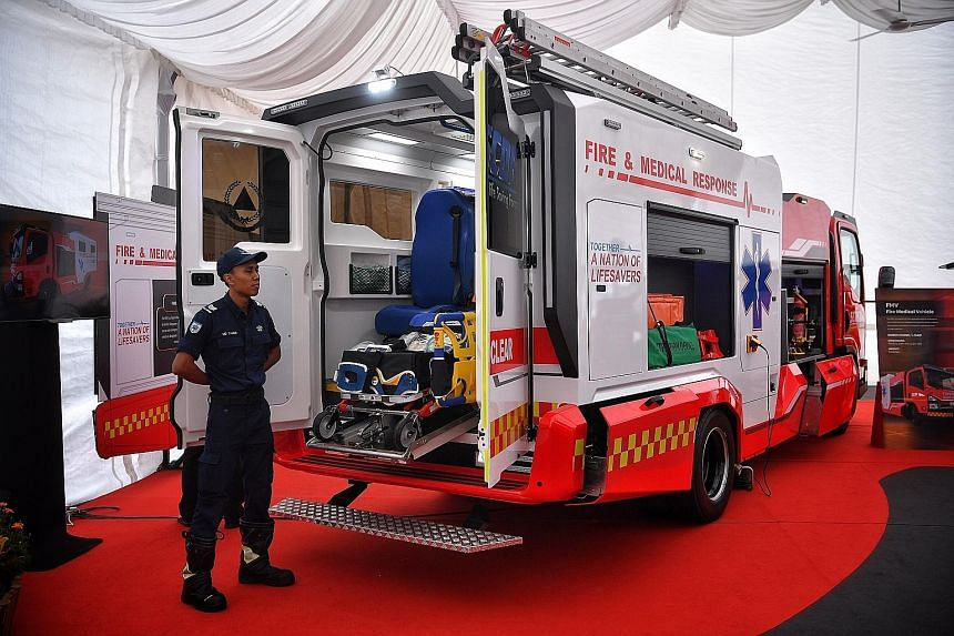 A Fire Medical Vehicle on display at SCDF's annual workplan seminar yesterday. The SCDF will roll out these vehicles later this month, and they will be deployed in less severe emergencies such as minor road traffic accidents.
