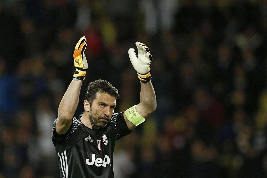 Gianluigi Buffon reacts during the Uefa Champions League semi-final between AS Monaco and Juventus.