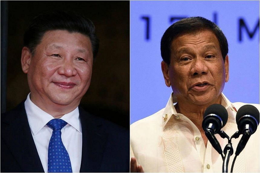 China's President Xi Jinping (left) had a phone conversation with Philippine President Rodrigo Duterte on Wednesday (May 3).