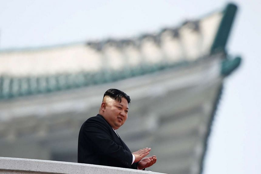 North Korean leader Kim Jong Un at a military parade marking the 105th birth anniversary of the country's founding father in Pyongyang on April 15, 2017.