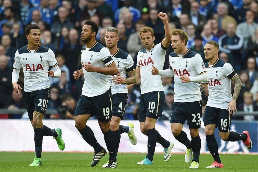 Tottenham's Harry Kane (third right) celebrates a goal against Chelsea in the FA Cup competition.