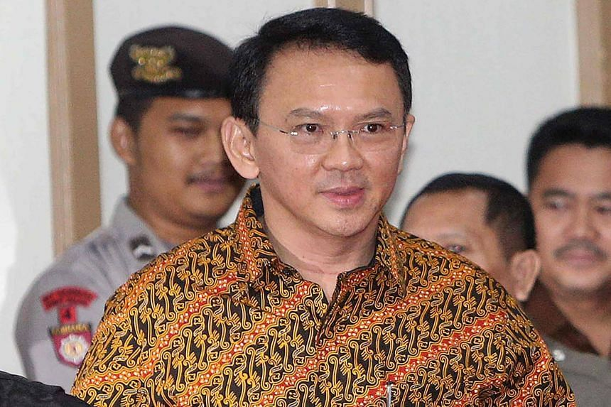Jakarta Governor Basuki Tjahaja Purnama attends his ongoing trial for blasphemy at a court in Jakarta on April 25, 2017.