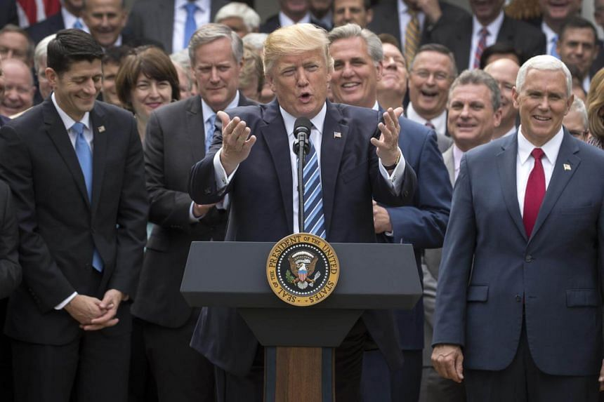 President Donald Trump speaks as House Republicans gather at the White House to celebrate passing the American Health Care Act, in Washington, on May 4, 2017.