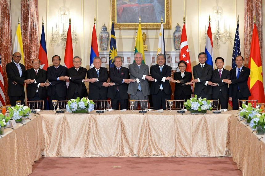 US Secretary of State Rex Tillerson (centre) posing for a group photo with Ministers of the Association of South East Asian Nations (ASEAN) Member States, including Foreign Minister Vivian Balakrishnan.