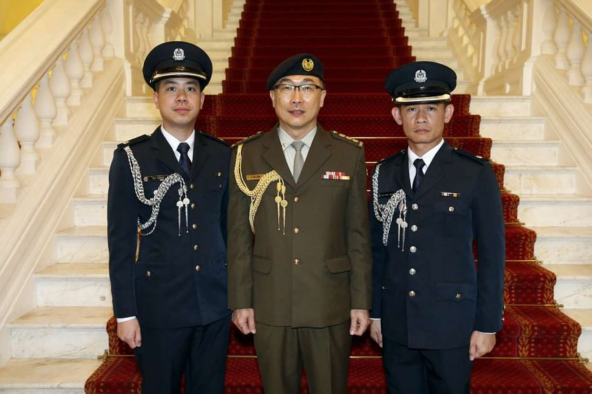 (From left) ASP (NS) Teo Congde, COL (NS) Lim Jit Mee and ASP Chua Kung Young.