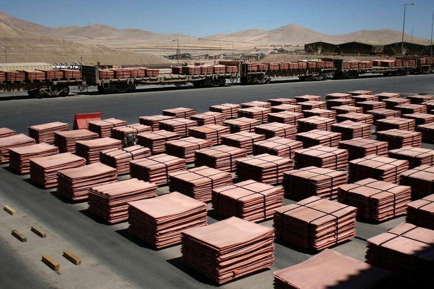 Sheets of copper cathode are seen at the copper cathode plant inside the La Escondida copper mine near Antofagast, Chile.