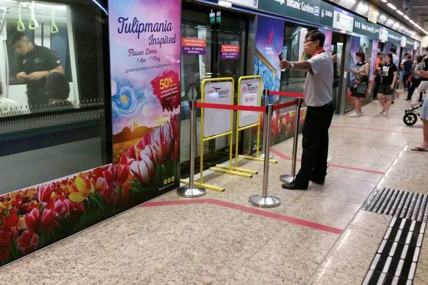 The faulty door at Botanic Gardens station remained barricaded on May 4, 2017.